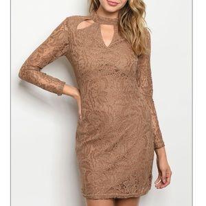 Taupe long sleeve lace mini dress w/ cutout detail